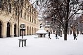 Walking in Snowfall in Hofgarten, Munich, Germany