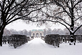 Pavillon during Snow Fall in Hofgarten, Munich, Germany