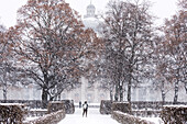 Bayerische Staatskanzlei during Snow Fall in Hofgarten, Munich, Germany