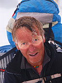 Dutch mountaineer Henk Wesselius after returning from the death zone on Manaslu. This mountain in the Nepal Himalayas is 8163 meter high and one of the 14 eight thousand meter peaks on the globe.