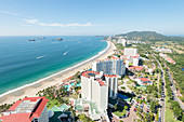 An aerial view of the sunny coast of the touristic beach city of Ixtapa, in Zihuatanejo, Guerrero, Mexico.