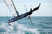 Armel Le Cléac'h and Kevin Escoffier from the Banque Populaire Sailing Team and the Flying Phantom. The Flying Phantom is a new generation of foiling catamarans design by Martin Fisher.