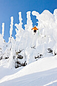 A Male Skier Airs A Cliff At Whitefish Mountain Resort In Whitefish, Montana