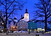 mainplace and St. Michael, Regen,  Bavarian forest, Eastern-Bavaria, Bavaria, Germany