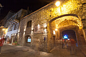 Tourists in the medieval alleys of the old town Porto Vecchio Corsica France Europe