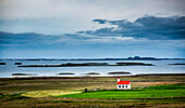 Iceland, Westfiords and lonely church in the green landscape