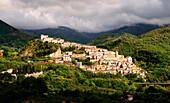 View of Viggianello village from countryside, Potenza district, Basilicata, Italy