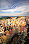 View from above of Recanati village, Macerata district, Marches, Italy