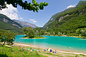 Tenno lake in Trentino during summer touristic season