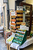 Gourmet products and typical food in the shops of the old alleys of Portovenere La Spezia province Liguria Italy Europe
