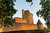 EU, France, Carcassonne The famous medieval fortress restored by the architect Eugène Viollet-le-Duc in 1853 it was added to the UNESCO list of World Heritage Sites in 1998