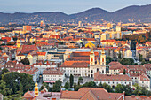 View from the Schlossberg and the old town in morning light, Graz, Styria, Austria, Europe