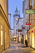 View of alley Judengasse to Alter Markt and old town hall in the historic old town of Salzburg, Austria, Europe