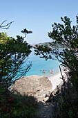 Beach with people enjoying the sea, Dhermi, Albanian Riviera, Albania