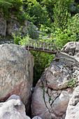 old wooden bridge, Theth, Albanian alps, Albania