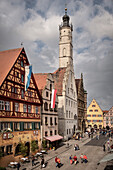 church tower and frame work houses at old town, Rothenburg ob der Tauber, romantic Franconia, Bavaria, Germany