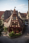 prominent framework house at old town, Rothenburg ob der Tauber, romantic Franconia, Bavaria, Germany