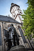 memorial of musician Johann Sebastian Bach in front of Thomas church, Leipzig, Saxony, Germany