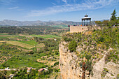 View of Andalusian countryside and Alameda Del Tajo, Ronda, Andalusia, Spain, Europe