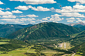 Overview of Aspen, Colorado on a sunny summer day