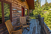 Cabins and deck at the Tutka Bay Lodge in Kachemak Bay, Southcentral Alaska, USA