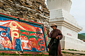 'Litang Monastery, in the entrance near to the Stupa, many stones carved with the symbols of the mantra ''Om Mani Padme Hum'', West of Sichuan province; Litang, Sichuan, China'