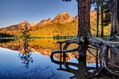 'Teton Range and String Lake at sunrise, Grand Teton National Park; Wyoming, United States of America'