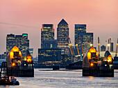 'Canary Wharf skyline from Woolwich; London, England'