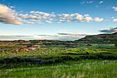 'Landscape of green foliage and brown hills under a blue sky with cloud; Herschel, Saskatchewan, Canada'