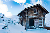 'Traditional chalet on Gornergrat summit, Monte Rosa, Pennine Alps; Zermatt, Valais, Switzerland'