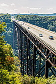 'The New River Gorge Bridge, a steel arch bridge 3,030 feet long over the New River Gorge near Fayetteville in the Appalachian Mountains of the eastern United States; West Virginia, United States of America'