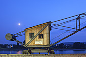 Historic freight crane of the Basalt AG in Linz by the river Rhine, Lower Central Rhine Valley, Rhineland-Palatinate, Germany, Europe