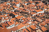 Aerial View of Old City Roofs, Dubrovnik, Croatia