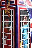 Bemalte Telefonzelle, Thames Street, Windsor, Berkshire, England