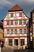 The red half-timbered house with the swan as a symbol for Luther, the Lutherhaus, Schmalkalden, Thuringia, Germany, Europe