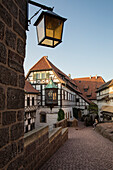 First courtyard with half-timbered buildings at Wartburg castle, Eisenach, Thuringia, Germany, Europe