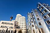 Television tower and Neuer Zollhof (Architect: F.O. Gehry), Medienhafen, Duesseldorf, North Rhine-Westphalia, Germany