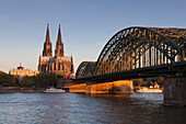 View over the Rhine river to Museum Ludwig, Cologne cathedral and Hohenzollern bridge, Cologne, North Rhine-Westphalia, Germany