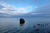 Dusk at the chalk rocks, Jasmund National Park, Ruegen,  Baltic Sea, Mecklenburg-West Pomerania, Germany