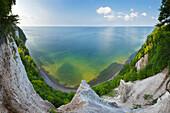 Panoramic view to the chalk rocks at Viktoria-Sicht, Jasmund National Park, Ruegen,  Baltic Sea, Mecklenburg-West Pomerania, Germany