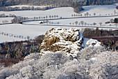 "View from Feldstein rock, rock formation ""Bruchhauser Steine"", near Olsberg, Rothaarsteig hiking trail, Rothaargebirge, Sauerland region, North Rhine-Westphalia, Germany"