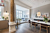kitchen and living area in a modern furnished Art Nouveau apartment in Hamburg, north Germany, Europe