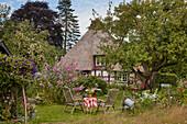 Garten am Bauernhaus, an der Schlei, Schleswig Holstein, Deutschland
