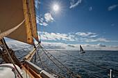 Sailing on the Baltic Sea in front of Warnemuende, Mecklenburg Vorpommern, Germany