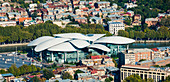 'Tbilisi, the capital and largest city of Georgia, with the mushroom shaped Justice House; Tbilisi, Georgia'
