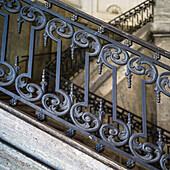 Ornate metal railing along stairs, Stockholm, Sweden