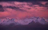 Kachemak Bay State Park at sunset with glowing pink sky, Alaska, United States of America