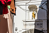 A alley in the Old Town with saint's figure, Forio, Ischia, the Gulf of Naples, Campania, Italy
