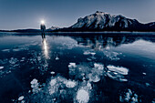 man standing on Abraham Lake, Jasper National Park, Alberta, Kanada, north america