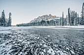 Riverside at Bow River, castle junction, Banff Town, Bow Valley, Banff National Park, Alberta, canada, north america